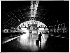 Bangkok Station.   ( iphone6)) (Mark Fearnley Photography) Tags: train man filmnoir fineart art silhouette streetphotography street bw iphone6 iphone bangkoktrainstation thailand bangkok blackandwhite bnw