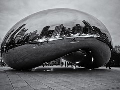 Night (ancientlives) Tags: chicago illinois usa travel monday march spring 2017 cold clouds evening lights reflections thebean cloudgate michiganavenue downtown loop millenniumpark walking streetphotography mono monochrome blackandwhite bw