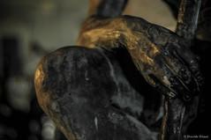 Hand on the leg (D:D:T: ) Tags: art sculpture scultura arte notte night le light colors colori bubblegum man uomo viso face mano hand