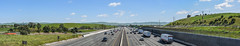 california convoy (pbo31) Tags: livermore eastbay alamedacounty over 580 highway convoy trucks panorama large stitched panoramic march 2017 spring boury pbo31 roadway traffic nikon d810 infinity blue sky bayarea overpass loscolinasroad clouds