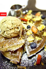 Classical (Earl Grey) Waffles (APERTURE X & THE CULINARY ADVENTURER) Tags: food singapore dessert waffles cornflakes fruits maplesyrup espressoicecream