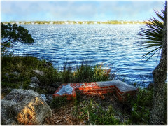 Historic Beauty (Chris C. Crowley- Editing for the next month or so) Tags: historicbeauty amespark ormondbeachflorida chimney ruins scenic river halifaxriver palmtree cedar bricks water horizon