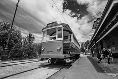 DSC00278 (Damir Govorcin Photography) Tags: railway history sydney tramway museum loftus blackwhite monochrome wide angle sky clouds sony a7rii zeiss 1635mm people perspective creative composition tracks trees