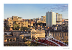 Quayside West (Seven_Wishes) Tags: newcastleupontyne canoneos5dmarkiv canonef24105mmf4lisii photoborder outdoor kc hm newcastlequayside bridge swingbridge buildings calecrosshouse swanhouse moothall vermonthotel architecture earlymorning city cityscape quayside officeblock sunny