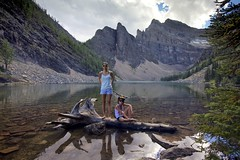 Summer Days Banff (John Andersen (JPAndersen images)) Tags: alberta banff calm girls lake lakeagnes log mountains portrait