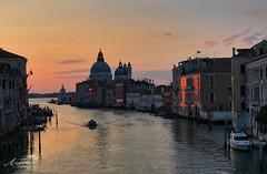 A Venice Sunrise on the Grand Canal (by Amy Davies, Plymouth, MA) Tags: 2017 april venice iphone sunrise academiabridge grandcanal boat snapseed venezia italy italia landscape