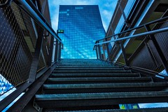 EXIT ! (eyeemudo) Tags: urban steel ezb frankfurtammain bank steps cloudy architecture reflection lowangleview outdoors nopeople staircase futuristic frankfurt germany