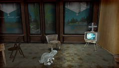 grunge bunny (Brick Thorn) Tags: grunge bunny tv vintage fan 70s second life sl virtual reality easter rabbit hare television creepy doll baby blades edge bdsm hotel hexagon floor tiles glowing screen animal animals bunnies rabbits wood paneling 1970s