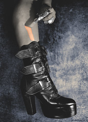 110 : 365 : VI (Randomographer) Tags: project365 human female leg boot foot hand photoshop graphic design digital art black heel high manipulation 110 365 vi strip peel
