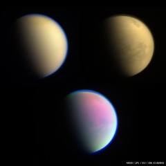 Three Views of Titan (Val Klavans) Tags: titan t126 flyby april 18 19 2017 cassinimission cassini planetaryscience planetary saturn nasa jpl ssi val valerie klavans kraken mare krakenmare hydrocarbon haze northpolarhood north polar hood red green blue ultraviolet infrared methane band dunes orange moon astrobiology astronomy atmosphere huygens iss imagingsciencesubsystem imaging science subsystem lakes seas mission northpole planet rgb raw system solarsystem spacecraft hazes hazy