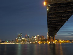 Sunset at Milson's Point (Anthony's Olympus Adventures) Tags: sydney nsw harbour australia sunset night light dark bridge water cbd downtown syd city cityscape stunning milsonspoint travel olympus photo longexposure