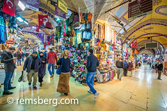 Goods being sold at the Grand Bazaar in Istanbul, Turkey, one of the country's most visited landmarks and oldest public markets. (Remsberg Photos) Tags: istanbul turkey grandbazaar bazaar shopping commerce covered goods forsale products corner shoppers walking busy vendor clothing tapestries tur