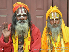 2015-03b Doubling Down on Doubles 2017 (01) (Matt Hahnewald) Tags: psychological primelens street doubleportrait cultural character forehead makeup facepainting thirdeye sacredash vibhuti urdhvapundra wrinkles fullbeard sadhu prayershawl bodylanguage gesture blessing respect relationship male posing beggar red yellow eyes matthahnewaldphotography face facingtheworld durbarsquare headscarf hinduism horizontal head kathmandu hair nepal nikond3100 old outdoor painted hand portrait two vaishnavism 50mm livedinface expression halflength nikkorafs50mmf18g fullfaceview clarity 1200x900pixels resized colourful colour 4x3ratio closeup consensual lookingatcamera