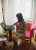 Nina ,March , 2104 (Marina Danic) Tags: girl chair laptop computer pink dress work student marina danic
