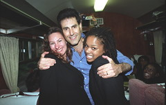 Uri Geller with Patti Boulaye and her Gospel Choir Train Journey from Paddington Station London to Exeter City St James Park Football Club Fund Raising Event Focusing on Children with Aids June 14 2002 015 (photographer695) Tags: uri geller with patti boulaye her gospel choir train journey from paddington station london exeter city st james park football club fund raising event focusing children aids june 14 2002