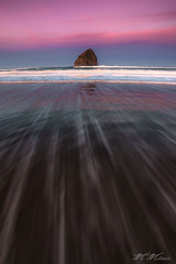 Streakin' (Mark Metternich) Tags: ocean city pink beach rock sunrise surf waves pacific mark haystack cape streaks kiwanda metternich