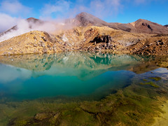 Red Crater and the Emerald Lake (blue polaris) Tags: park new travel red lake landscape island volcano scenery crossing north olympus zealand alpine national crater nz tongariro emerald omd em5