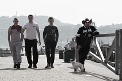 Cooler Than Cool..... (sammydingle) Tags: dog lighthouse man male men canon pier yorkshire north 85mm 7d scarborough groups steet