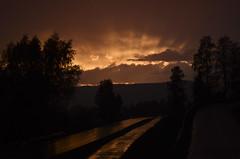 Spring (Petter Elstad) Tags: road trees sunset sky orange cloud sun love nature rain norway norge spring warm europe heaven peace north lillehammer valley rays scandinavia sunrays gausdal skandinavia