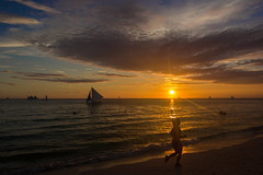 | Running in the Sunset (Owen Wong (Thank you)) Tags: ocean sunset sea people cloud sun beach beautiful landscape gold boat asia warm sailing sundown philippines running boracay