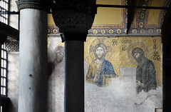 Deësis mosaic beyond columns, Hagia Sophia