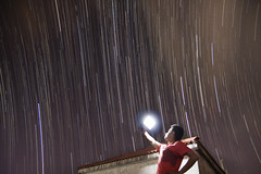 Self Portrait with the Stars |    (Sudarshan_SMD) Tags: portrait sky night self star terrace flash trails startrails selfie kolhapur