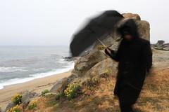 Black hooded figure on the Ribera Rock (LOLO Italiana) Tags: ca sea beach fog landscape sand pacificocean carmel pathway rockformation carmelriverbeach blackumbrella blackhoodedfigure riberarock