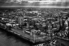 London under the spotlight (RH Imagine Photo) Tags: city uk white black london skyline contrast landscape photography high nikon bigben aerial parlament clair obscur