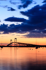 Newport Bridge with Lights - Mike Dooley (mike_dooley) Tags: ocean bridge sunset seascape water night clouds boats rhodeisland newport sailboats newportbridge narragansettbay