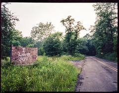 Somewhere near Gum's Run (joespix) Tags: road 120 film sign analog woods fuji iloveyou roadside fujiga645 fujinph aliquippapa joeindovina gumsrun