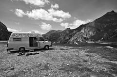 Camper sul Passo Fedaia (rafpas82) Tags: bw montagne italia bn neve alpi trentino dolomiti biancoenero monti marmolada valdifassa d7000 giugno2014 passofedia