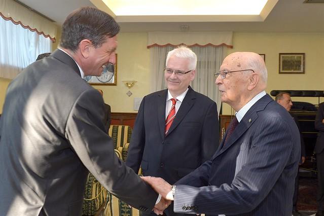 Il Presidente Giorgio Napolitano con il Presidente della Repubblca di Slovenia  Borut Pahor e il Presidente della Repubblica di Croazia Ivo Josipovic a Cormons