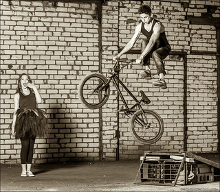 BMX Stunt Rider and his cheer girl