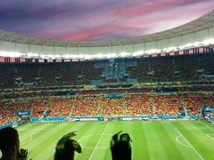 Copa no Brasil (rafaelm) Tags: sunset brazil braslia football stadium soccer feathers worldcup fifaworldcup 2014 copadomundo mangarrincha estdionacionalmangarrincha