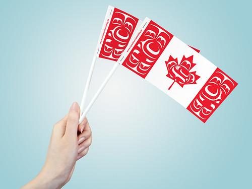 "3"" x 6"" Canadian Native Paper Stick Flag"