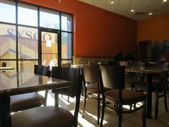 Hawaiian Restaurant, Phoenix Arizona (Blinking Charlie) Tags: arizona usa caf phoenix restaurant chairs interior fastfood lensflare tables 2013 canonpowershots100 syscotruck onohawaiianbbq dumpsterenclosure blinkingcharlie