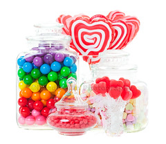 Candy Display (Brenda Carson_songbird839) Tags: pink blue red food orange white green glass yellow gum dessert rainbow colorful purple candy heart display crystal sweet cinnamon group sugar container clear whitebackground snack bunch jar vase junkfood ribbon bubblegum variety transparent lollipop isolated gumball valentinesday confectionery heartshape cinnamonhearts messagehearts alldaysucker