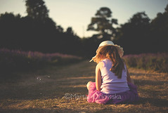 bubble (Marta A Orlowska) Tags: summer nature girl hat sitting child lavender bubbles thinking fields