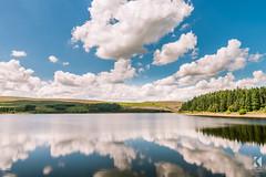 Langsett Reservoir (Kiseki Studio) Tags: blue trees summer sky reflection water clouds still calm reservoir polariser langsett