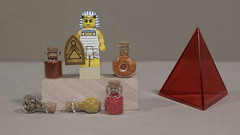 The Egyptians used many herbs and potions (Busted.Knuckles) Tags: home toys lego miniature egyptian warrior small bottles pyramid canonsl1