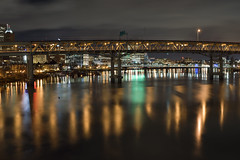 Marquam Bridge (Curtis Gregory Perry) Tags: portland oregon marquam bridge night willamette river longexposure reflection skyline city pdx urban nikon d810 50mm f12 hawthorne steeltruss cantilever interstate 5 1966 philipmarquam traffic trails