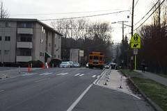 Improving school crossing with paint and post on NE 110th (Seattle Department of Transportation) Tags: seattle sdot transportation twitter donghochang improved school crossing paint post ne 110th crosswalk sign bus cones srts safety saferoutestoschool