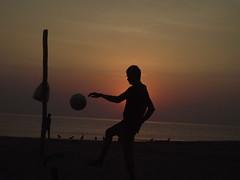 Beachsidde ball (Namita Pawah) Tags: beachside ball football versova mumbai silhouettes sunset