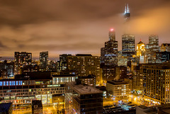 Chicago Clouds (T P Mann Photography) Tags: chicago illinois sky skyscrapers clouds cloud night dark low light lights long exposure city cityscape life action willis tower downtown nightlife