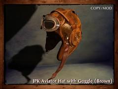 **JPK Aviator Hat with Goggle (Brown) (hekirekika2017) Tags: secondlife aviator flightcap pilot goggle steampunk dieselpunk jpk