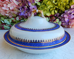 Antique Early 19c Spode New Stone Covered Serving Bowl ~ Cobalt Gold (Donna's Collectables) Tags: antique early 19c spode new stone covered serving bowl ~ cobalt gold