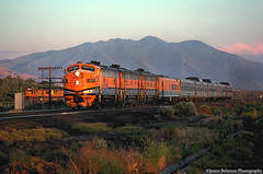 Chasing the Setting Sun (jamesbelmont) Tags: drgw f9 streamliner vineyard utah passenger train locomotive railroad sunset