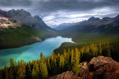 Glacier melt (Explored) (Sapna Reddy Photography) Tags: peytolake banff alberta canada water glacier trees mountain mountainside foliage canadianrockies
