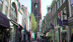 Utrecht 3D (wim hoppenbrouwers) Tags: utrecht 3d anaglyph stereo redcyan dom domtoren street