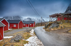 Travel Concepts and Ideas. Indise of the Classic Traditional Norwegian Fishing Hut Hamnoy in Norway. (DmitryMorgan) Tags: norway norwegian panorama scandinavia arctic bay coast environment europe fjord hamnoy harbor house hut isle light lofoten lofotenislands mountains nature nopeople noone ocean outdoor picturesque polarcircle red reddish reine reinefjord scenery scenic seascape snowy traditional traveldestination travelling village water